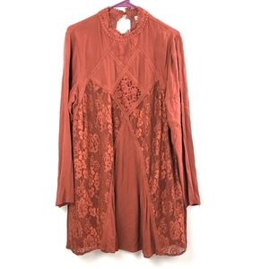 Xhilaration   Red Tent Dress Lace Accent size Med